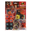 The Incredibles Mega Mix Favors includes 8 dog tag keychains, 8 maze puzzles, 8 yo-yos, 8 siren whistles, 8 mini tops, and 8 maps with activity sheets. WARNING: toys contain small parts. For ages 3 and Up. Contains (48) pieces per package.
