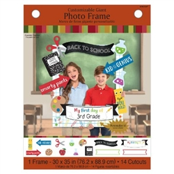 This huge 30 inch by 35 inch customizable photo frame announces My First Day Of, which you can customize to state the grade. 14 scholastic icons and phrases are printed on card stock, and can be attached to the photo frame as you choose.