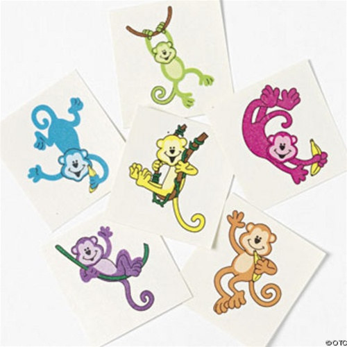 e9f42463db29c 1 1/2 inch Neon Monkey Tattoos in assorted designs and sell them in packages