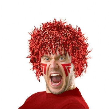 Red Pom Pom Tinsel Wig