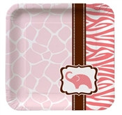 Pink Baby Safari Shower Dessert Plates (8/pkg)