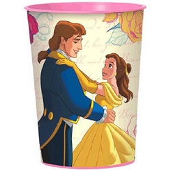 The Beauty and the Beast Favor Cup is made of pink BPA free plastic and features a full color wrapped image of Belle, Gaston, and the Beast. Each cup holds 16 ounces. Not suitable for microwave use.