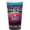 The Super Bowl 52 32 Oz Stadium Cup is made of durable plastic and measures 7 inches tall. It can hold 32 ounces of liquid. Dishwasher safe, top rack only. Contains one per package. No returns.