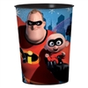 The Incredibles Favor Cup is made of plastic and measures 4 1/2 inches tall. It can hold up to 16 ounces. Contains one (1) per package. Due to hygiene-related concerns, this item is not eligible for return.