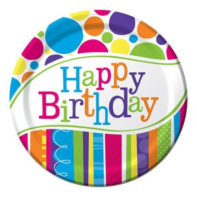 Bright and Bold Happy Birthday Lunch Plates (8/pkg)