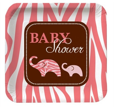 Pink Baby Safari Shower Lunch Plates (8/pkg)