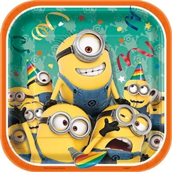 "The Despicable Me Square Plates 7"" will be enjoyed by any fan of the Minion characters! These 7 inch square coated paper plates are decorated with a crowd of Minions throwing themselves quite the party! Each pack includes eight plates."