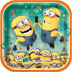 Colorful square coated paper plates that are printed with Despicable Me minions giving a high five and others dressed up to celebrate a party! Each package contains eight 9 inch square plates.
