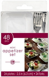 White and Clear Mini Appetizer Set (48/pkg)