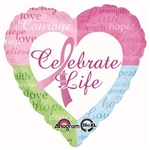 The Celebrate Life Balloon is a pastel colored heart shaped foil balloon with the phrase Celebrate Life printed in the center. The iconic pink ribbon, along with strength, courage, and hope demonstrate your support of this worldwide cause. One per package