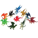 The Mini Dragons are made of plastic and measure approximately 2 inches. They're sold in an assortment of designs and colors. Contains 12 pieces per package. For ages 3 and Up.