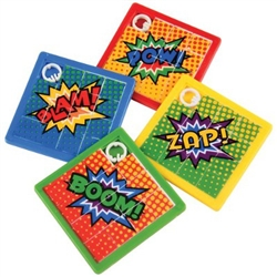 Superhero Slide Puzzles will entertain and delight guests of all ages. These classic little slide puzzles feature different words like Pow! Zap! Boom! Bam! Simply slide the squares around to mix, then try to match the squares back together.  8 per pkg.