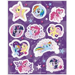 The My Little Pony Stickers feature your favorite cartoon ponies printed in lavender and pink pastel colors on adhesive stickers. Forty stickers per package.