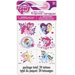 The My Little Pony Tattoos contain an assortment of magical pony characters Pinkie Pie, Rainbow Dash, and Fluttershy. Easy to apply and remove with soap and water. Ages 5 and up. Each package contains 24 tattoos.