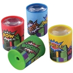 Superhero Prism Scopes won't give them superpowers, but the kids will love getting these fun little toys in their party favor bags. Each scope is printed with the words Pow! Bang! Zap! Blam! Simply hold up to your eye and turn to reveal vibrant colors!