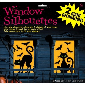 Cats and Bats Window Silhouettes
