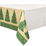 The Elegant Christmas Plastic Tablecover is a festive decoration that features a lovely shade of green with a Christmas tree on it. It's an elegant design that you and your guests are sure to love this Christmas season.