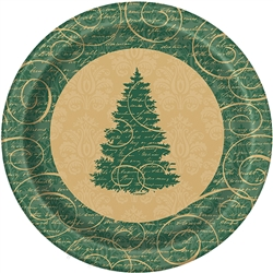 The Elegant Christmas Dinner Plates feature a classic border pattern with Christmas tree in the center of the plate. These high quality provide a quiet elegance to all your Christmas gatherings.  Comes eight plates per package