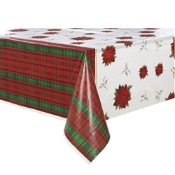 The Poinsettia Plaid Plastic Tablecover features a classy red and green plaid design that adds a real warmth to whatever room you decide to place it in. It measures 54 inches by 84 inches and comes one tablecover per package.