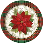 A red and green plaid design around the edges of the plate really complement the beautiful poinsettia in the inner portion of the plate. This plate is sure to draw rave reviews from all your guests. Comes eight plates per package.