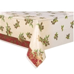 "The Elegant Holiday Plastic Tablecover - this high-quality table cover features an off-white field with beautiful green hollies with red berries. Measures 54"" x 84""."