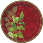 Celebrate the holiday season with your loved ones, delicious treats, and these Elegant Holiday Dessert Plates. These plates feature a multi-hued red background with delicate green holly leaves for that touch of elegance.