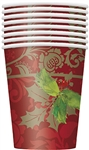 These Elegant Holiday Cups are the perfect addition to your holiday table. Featuring an elegant multi-hued red background, green holly leaves, and gold accents, these cups are perfect for hot or cold drinks.