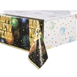 "Table covers are necessary for any New Year's party. This plastic, disposable table cover has a multi color background, with images of exploding fireworks. ""Happy New Year"" in big, gold letters is printed along the sides. Measures 54 x 108 inches."