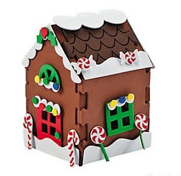 foam 3 d gingerbread house craft kit 12 pkg partycheap. Black Bedroom Furniture Sets. Home Design Ideas