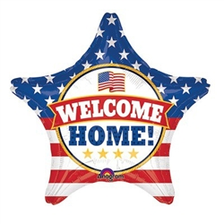 "The 19"" Patriotic Welcome Home Balloon is the perfect decoration to welcome back those serving in the armed forces. Each star-shaped foil balloon is printed on both sides in the stars and stripes pattern, with the phrase ""Welcome Home"". Ships flat."