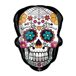 "This 24"" Sugar Skull Balloon features a black foil balloon in the shape of a sugar skull, with an intricately decorated sugar skull printed on both sides. Perfect for Day of the Dead celebrations! Ships flat - inflate with helium. One per package."