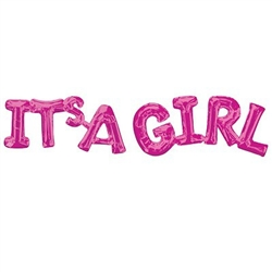 "The It's a Girl phrase balloon is a bright pink foil 2-piece letter shaped balloon announcing ""It's a Girl"". Perfect for gender reveal or birth announcements! Great photo prop! One balloon spells It's A and the other balloon spells Girl. Fill with air."