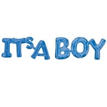"The It's a Boy phrase balloon is a 2-part letter shaped blue foil balloon, perfect for gender reveal, photo props or birth announcements. Both the ""It's A"" and ""Boy"" sections measures 20 inches by 9 inches. Ships flat - simply inflate with air."