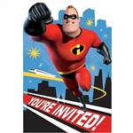 The Incredibles Invitations are printed with Mr Incredible as he gets ready to shoot into action. Each package includes postcard invitations, envelopes, seals, and save the date stickers. Contains eight (8) per package.
