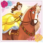 The Beauty and the Beast Beverage Napkins feature an image of Belle and her horse Philippe. These 2-ply paper napkins are perfectly portioned for drinks and finger foods. Each package contains sixteen of these 5 inch square folded napkins.