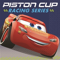 "The Cars 3 Beverage Napkins have a blue background printed with the Lightning McQueen red car! They read ""Piston Cup Racing Series"" across the top and measure 5 inches square when folded. 16 printed paper napkins per package."