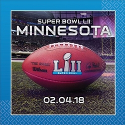 The Super Bowl 52 Beverage Napkins are made of two ply paper and measure 9 3/4 inches by 9 3/4 inches. Contains 16 napkins per package.