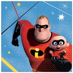 The Incredibles Beverage Napkins are made of 2-ply paper and measure 5 inches by 5 inches. They're printed with Mr. Incredible and Jack Jack with a blue background. Contains (16) napkins per package.