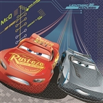 The Cars 3 Luncheon Napkins feature a full color image of Lightning McQueen and another racer zooming across the 2-ply paper napkin. Each package contains sixteen 6-1/2 inch square napkins. Matching accessories available.
