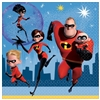 The Incredibles Luncheon Napkins are made of 2-ply paper and measure 6 1/2 inches by 6 1/2 inches. They're printed with the crime fighting family the city skyline behind them. Contains 16 napkins per package.