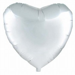 Silver Metallic Mylar Heart Balloon