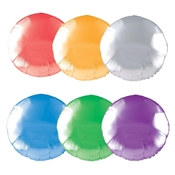 Round Metallic Mylar Balloon can be purchased in your favorite color of red, gold, silver, blue, green, or purple. Each balloon measures eighteen inches when fully inflated with helium.