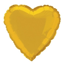 The Gold Metallic Mylar Heart Balloon measures 18 inches when fully inflated. Contains one (1) per package.