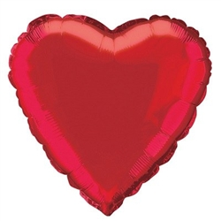 The Red Metallic Mylar Heart Balloon measures 18 inches when fully inflated. Contains one (1) per package. Do not over inflate.