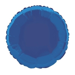 The Royal Blue Metallic Mylar Round Balloon measures 18 inches when fully inflated. Contains one (1) per package. Do not over inflate.