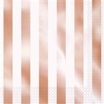 The Rose Gold Stripes Luncheon Napkins are made of 2 ply paper material. They are decorated with metallic rose gold horizontal stripes and white horizontal stripes. Measure 6 1/2 by 6 1/2 inches. Contains 16 per package. Do not microwave