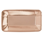 The Rose Gold Appetizer Plates Rectangle are made of coated paper and measure 9 inches by 5 inches. They have a shiny metallic finish. Contains eight per package. *Do not microwave