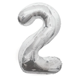 "The 34"" Silver Foil Balloon Number 2 can be inflated with either air or helium, and combined with our other numbered balloons to designate a special year or event. Also available in gold."