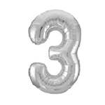 "The 34"" Silver Foil Balloon Number 3 inflates with air or helium and can be combined with other numbers. Perfect for birthdays and anniversary celebrations! Available in silver as well, in addition to other numbers. One per package. Ships flat."