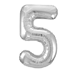 "The 34"" Silver Foil Balloon Number 5 can be inflated with either air or helium, and combined with our other numbered balloons to designate a special year or event. Also available in gold."